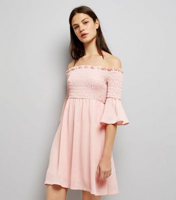 Cameo Rose Shell Pink Shirred Bardot Neck Dress New Look