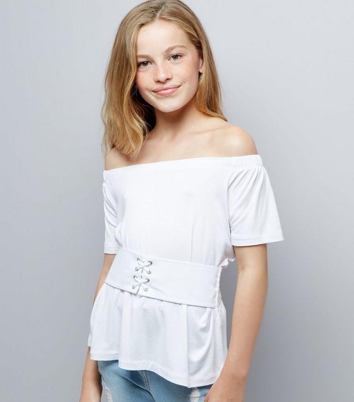 a169160eea5 Teens White Corset Waist Bardot Neck Top | New Look