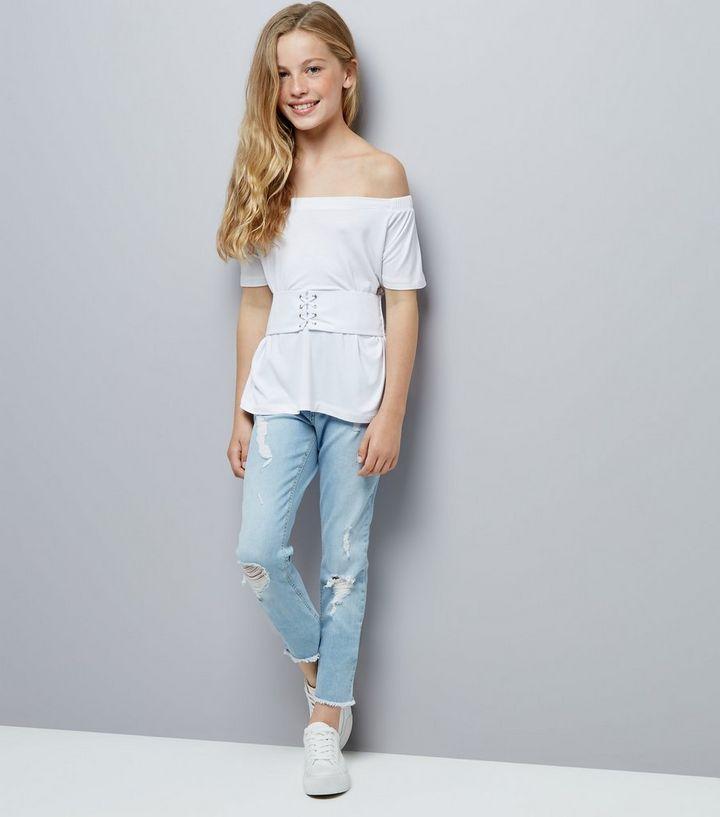 3c464dff0e1 ... Teens White Corset Waist Bardot Neck Top. ×. ×. ×. Shop the look