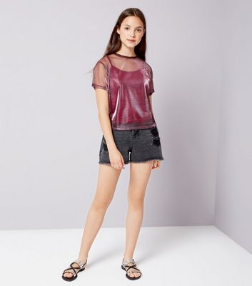 Teens Deep Pink Metallic Mesh Top New Look