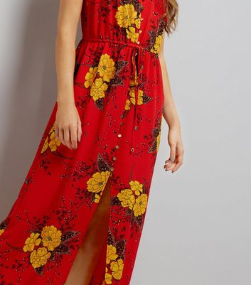 Cameo Rose Red Floral Print Maxi Dress New Look
