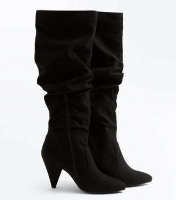 Black Suedette Knee High Cone Heel Boots New Look