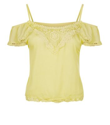 Cameo Rose Yellow Cold Shoulder Top New Look