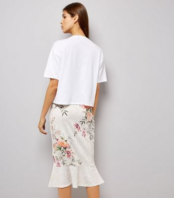 Cream Floral Print Peplum Hem Midi Skirt New Look
