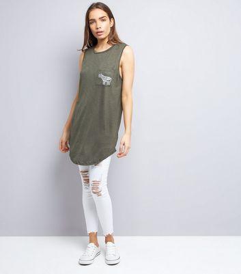 Apricot Olive Green Elephant Logo Longline Vest New Look