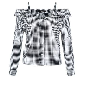 Teens Black Gingham Cold Shoulder Shirt New Look