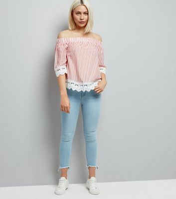 Red Stripe Lace Trim Bardot Neck Top New Look