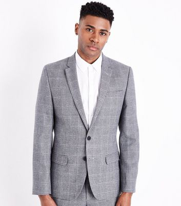 Grey Check Blazer New Look