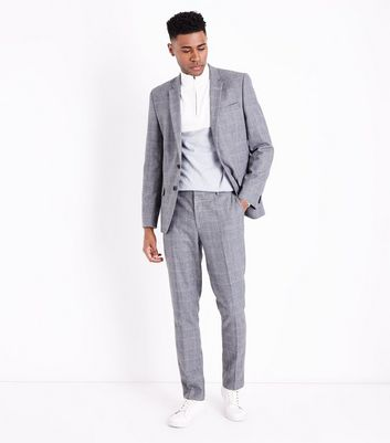 Grey Check Suit Trousers New Look