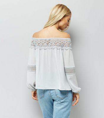 Pale Grey Crochet Trim Bardot Top New Look