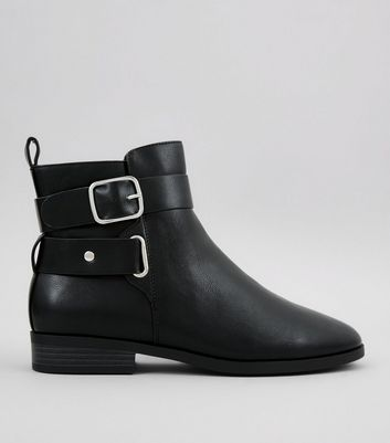 Wide Fit Black Buckle Strap Boots New Look