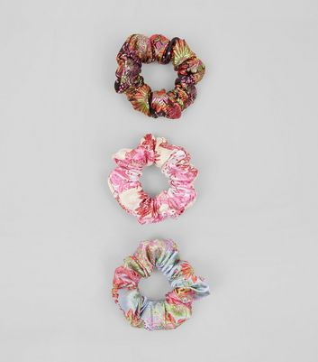 3 Pack Satin Floral Brocade Scrunchies New Look