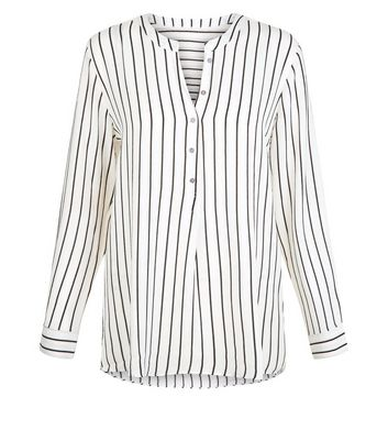 JDY White Stripe V Neck Blouse New Look