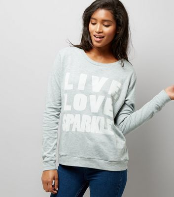 JDY Blue 'Live Love Sparkle' Slogan Print Sweatshirt New Look