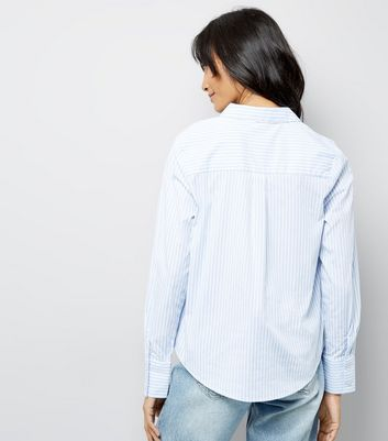 Blue Stripe Cotton Mix Shirt New Look