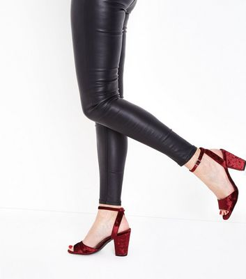 Dark Red Velvet Block Heel Sandals New Look
