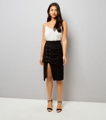 Black Pin Studded Split Hem Pencil Midi Skirt New Look