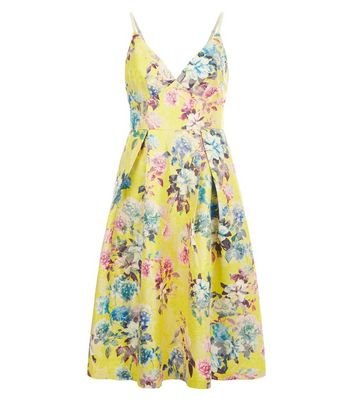 Yellow Floral Jacquard Strappy Prom Dress New Look