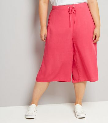 Curves Bright Pink Culottes New Look