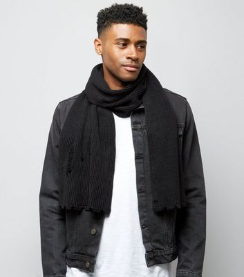 Black Ripped Scarf New Look
