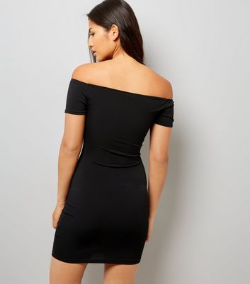Black Lattice front Bardot Neck Bodycon Dress New Look