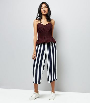 Burgundy Shirred Waist Cami New Look