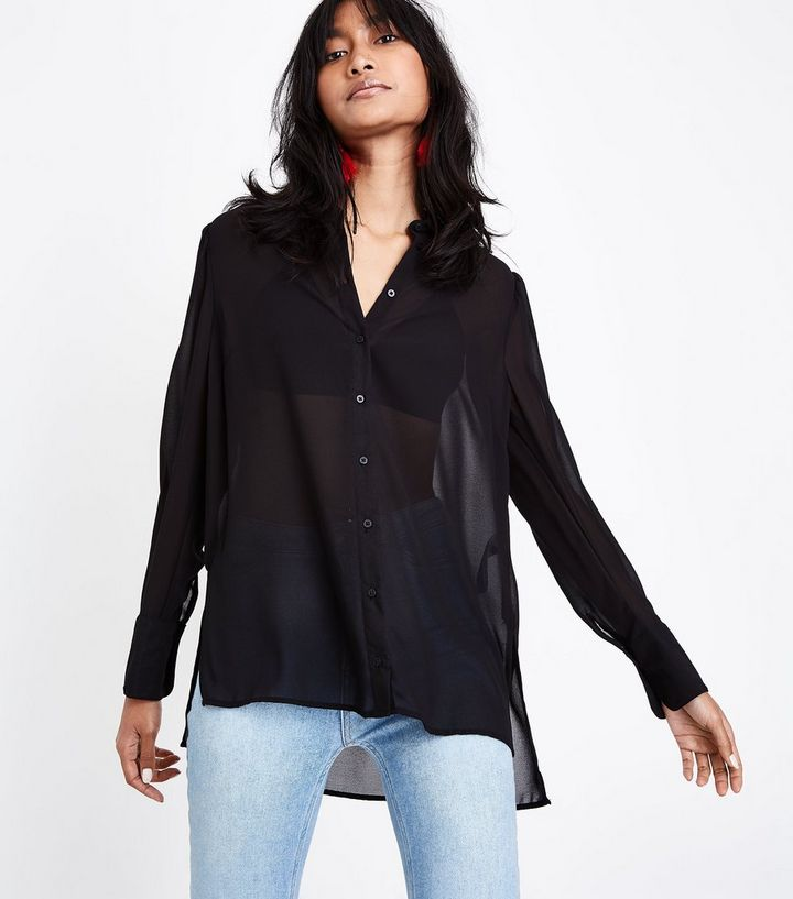 6179009f29fe8a Black Chiffon Long Sleeve Shirt