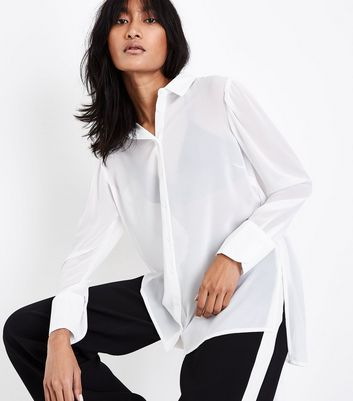 White Chiffon Long Sleeve Shirt