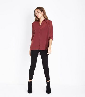 Burgundy Chiffon Long Sleeve Shirt New Look