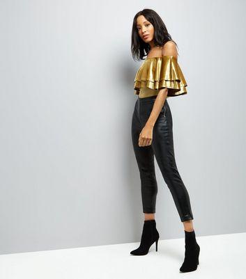 Green Velvet Frill Trim Bodysuit New Look