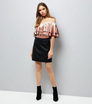 Pink Velvet Frill Trim Bodysuit New Look