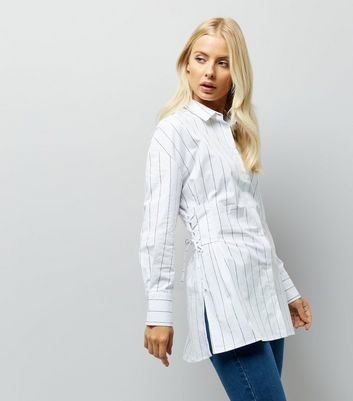 White Stripe Lace Up Side Shirt New Look