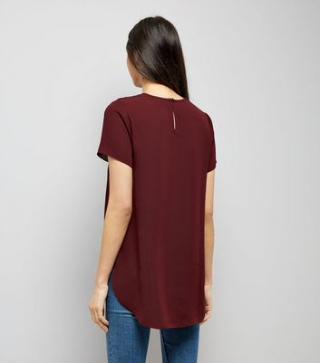 Burgundy Floral Lace Yoke T-Shirt New Look