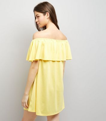 Yellow Floral Embroidered Bardot Neck Dress New Look