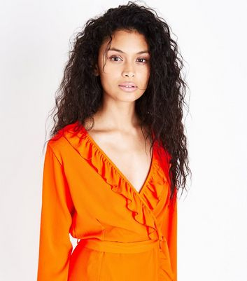Bright Orange Frill Trim Wrap Front Dress New Look