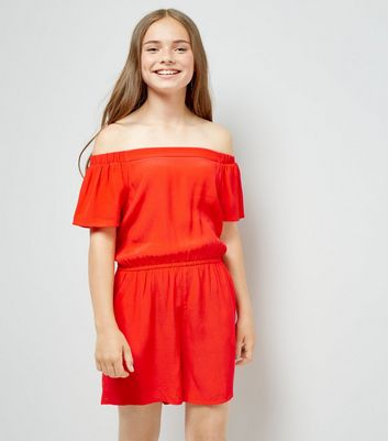 Teens Red Bardot Neck Playsuit New Look