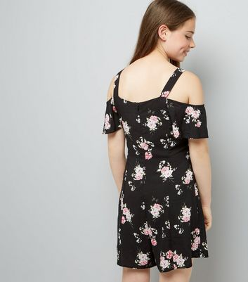Teens Black Floral Print Cold Shoulder Playsuit New Look