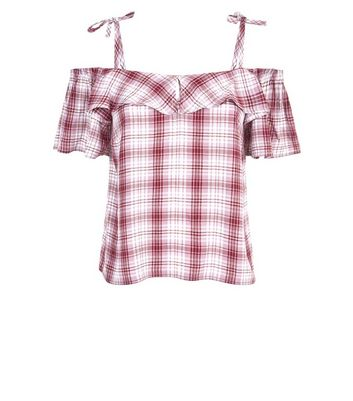 Red Check Cold Shoulder Top New Look