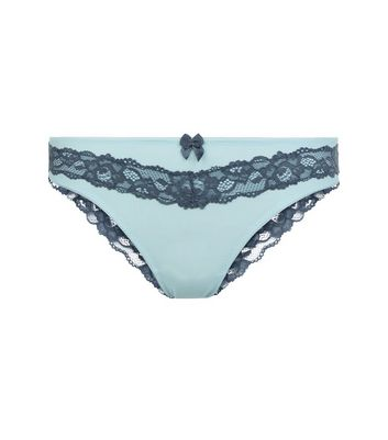 Pale Blue Lace Trim Brazilian Briefs New Look