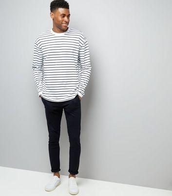 White Stripe Long Sleeve Oversized T-Shirt New Look