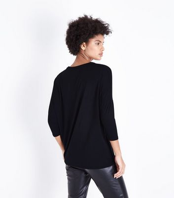 Black Cut Out Neck T-Shirt New Look
