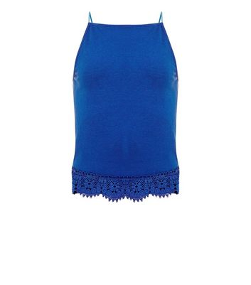 Teens Blue Crochet Hem High Neck Cami New Look