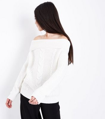 Teens White Cable Knit Bardot Neck Jumper New Look