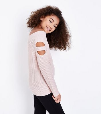 Teens Pink Cut Out Sleeve Distressed Bardot Jumper New Look