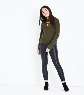 Teens Khaki Lattice Choker Neck Jumper New Look