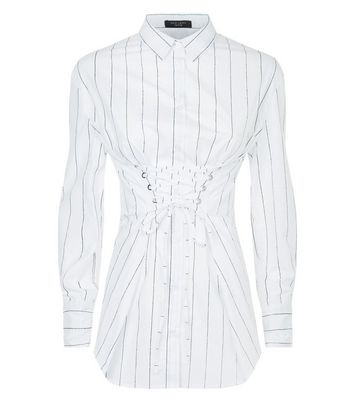 Petite White Stripe Corset Shirt New Look