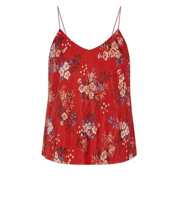 Red Floral Print Pleated Cami Top New Look