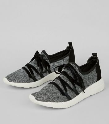 Silver Velvet Glitter Lace Up Trainers New Look