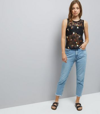 Black Lace Floral Embroidered Top New Look