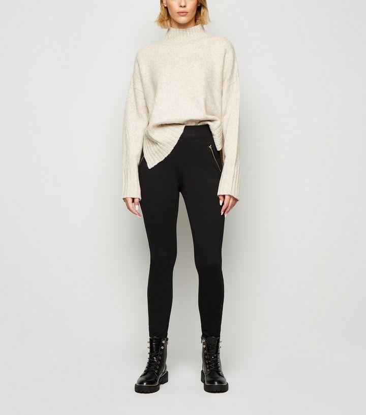 1f59bd627a78d Black Side Zip Leggings | New Look